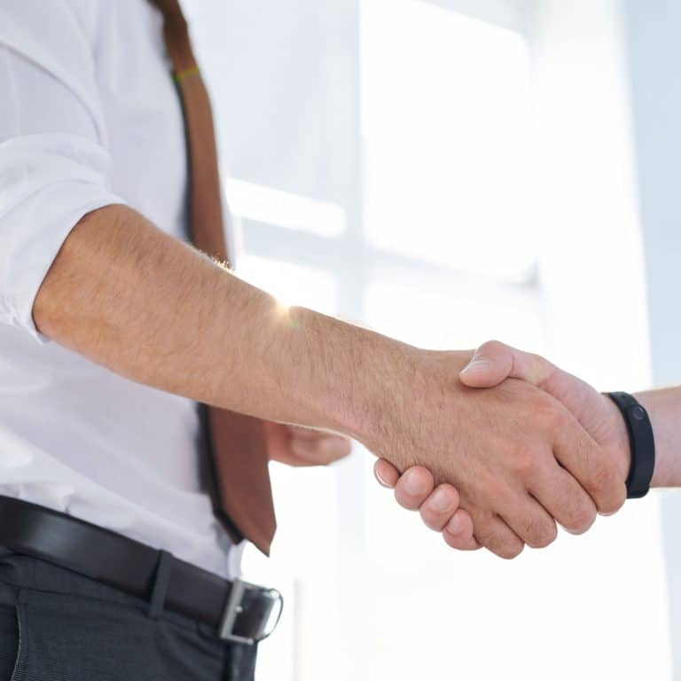 Young elegant businessman greeting his partner by handshake