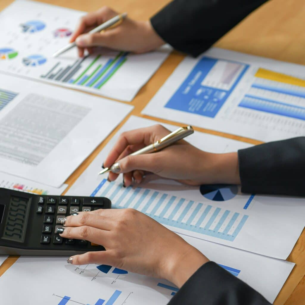 Accountants are analyzing data from the graph of the organization.