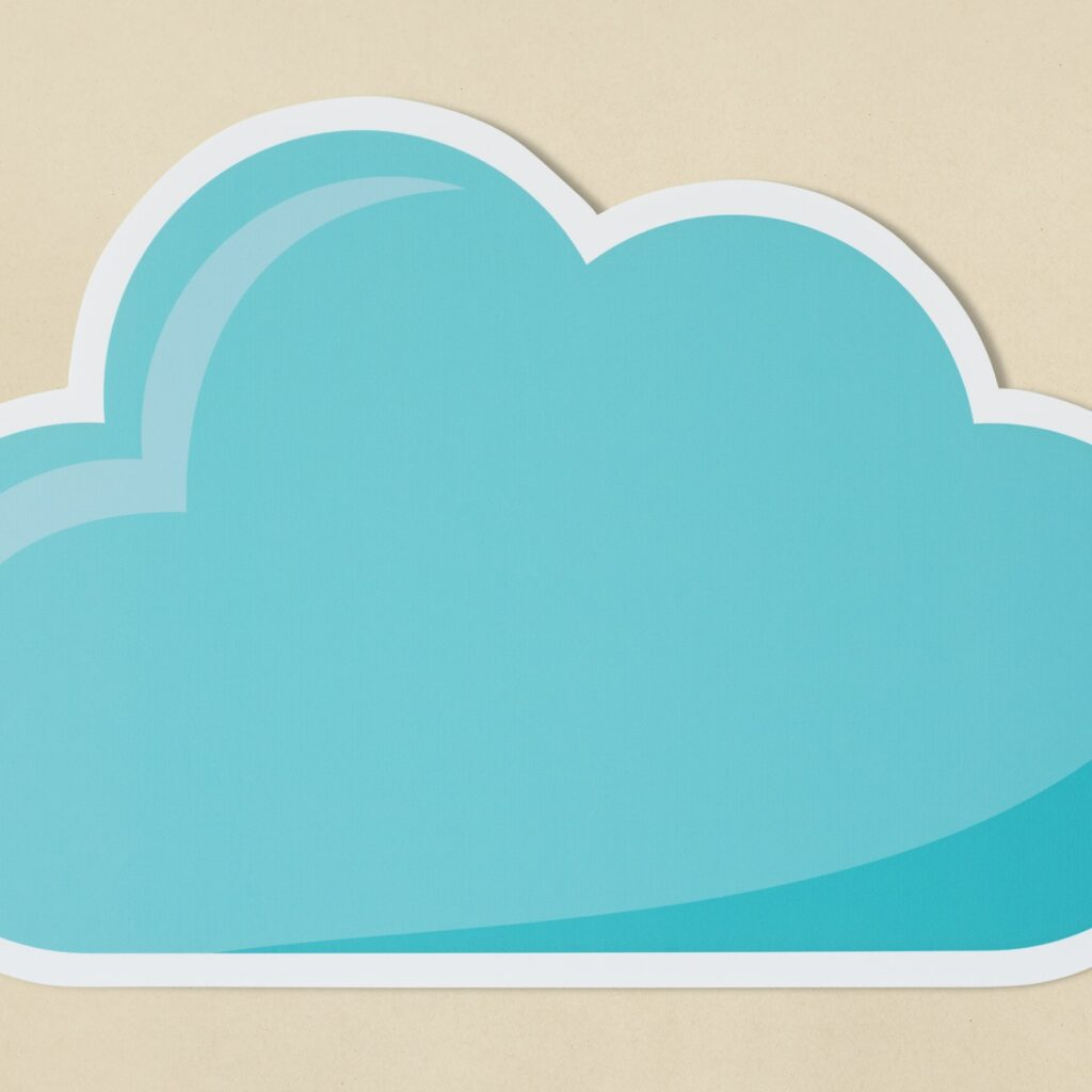 Blue cloud technology symbol icon