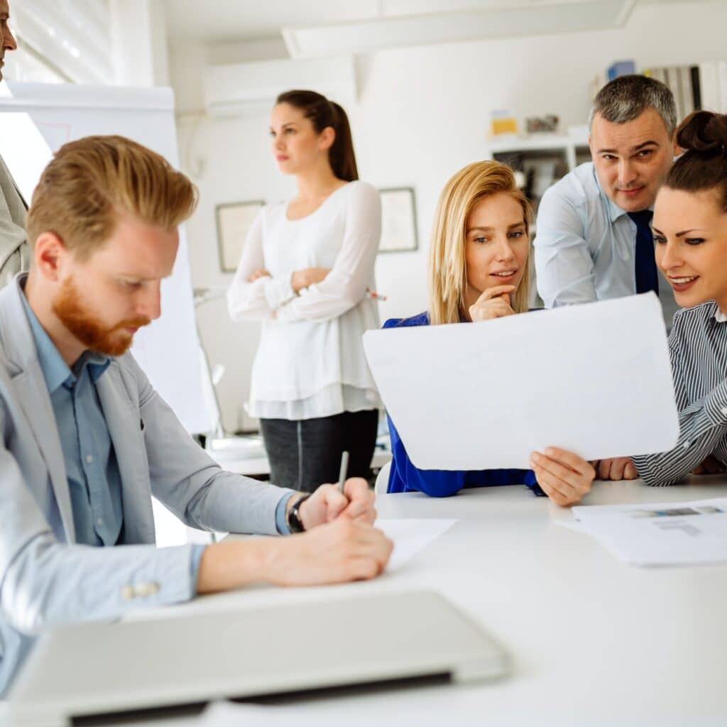 Businesspeople and architects planning
