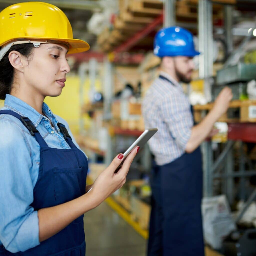 Female Worker Reviewing Stock