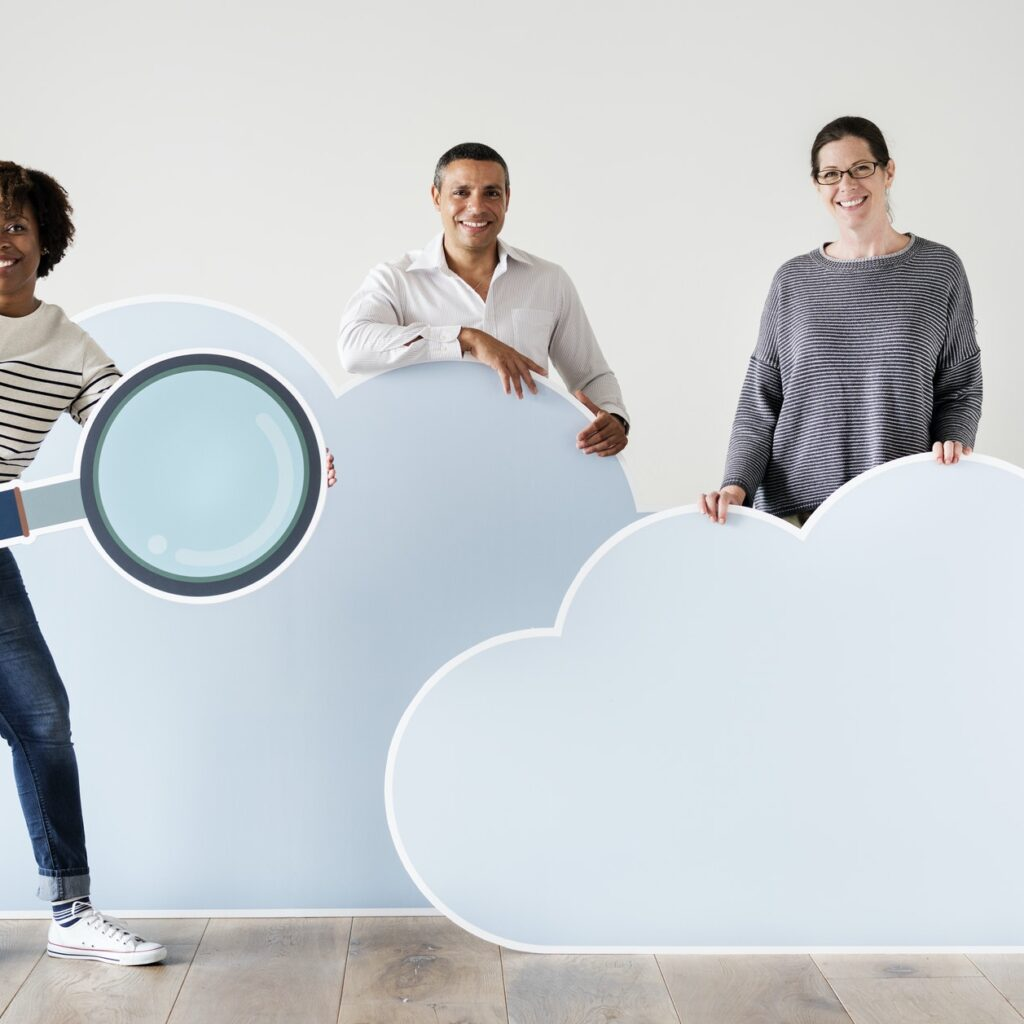 Happy people with cloud and technology icons