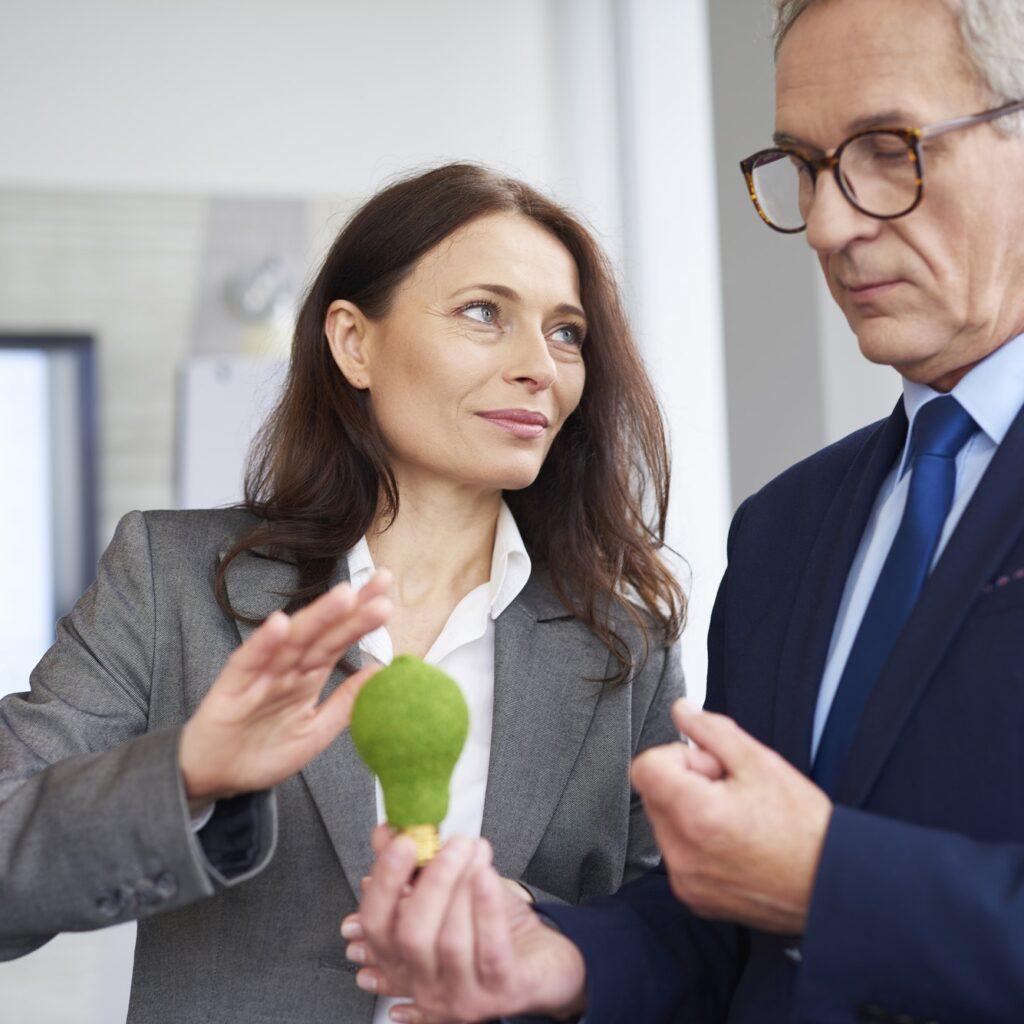 Mature business partners making a conversation