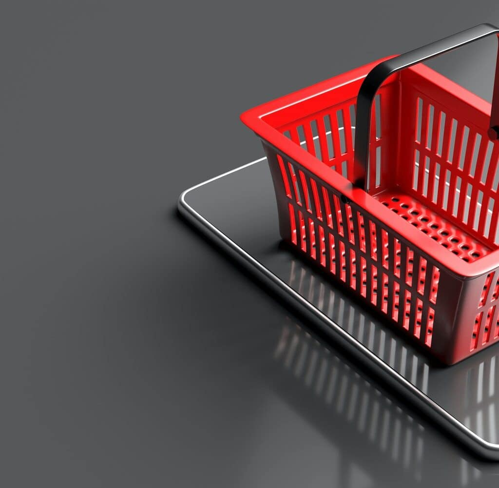 Shopping basket on a smartphone on grey background. 3d illustration