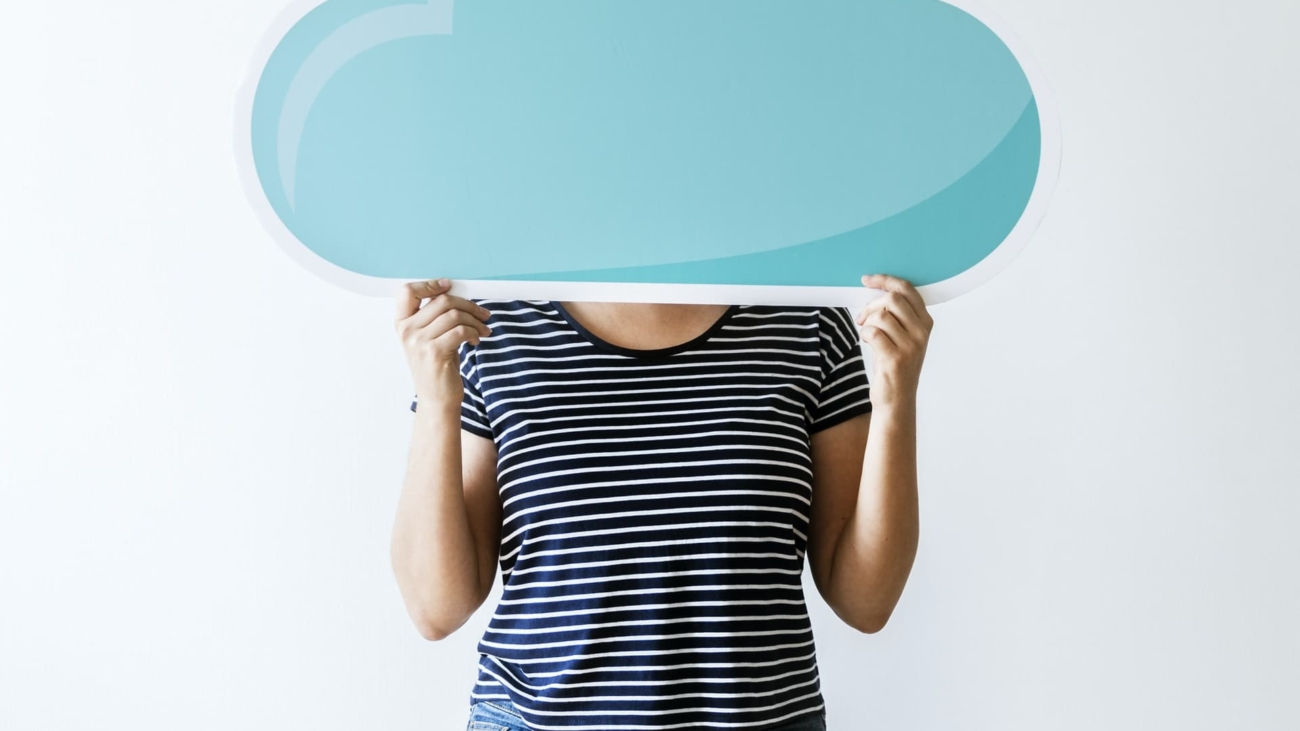 Woman with cloud network