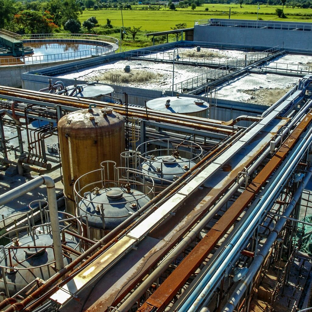 Waste water treatment, purification plant for factory